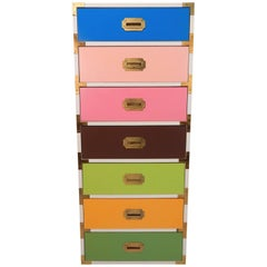 1970s Multicolored Tall Lingerie Campaign Chest