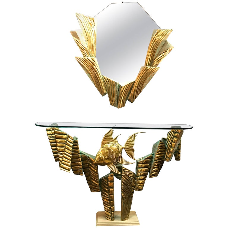 Brass Coral Console Table and Mirror by Alain Chervet For Sale
