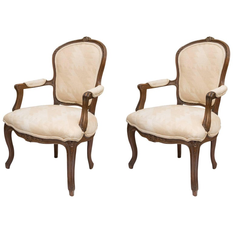 Pair of French Walnut Fauteuil Upholstered Chairs For Sale