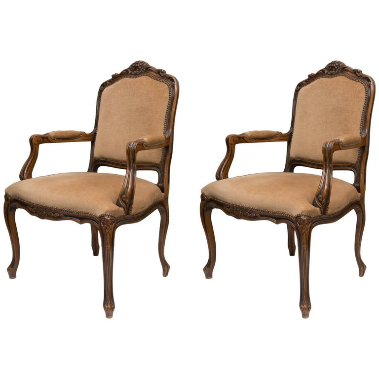 Pair of Italian Upholstered Fauteuil Chairs For Sale