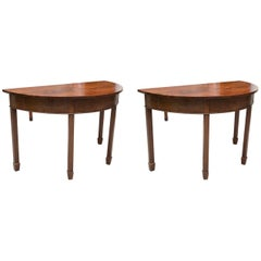 Pair of English Georgian Mahogany Demilune Console Tables