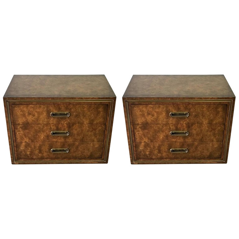 Pair of Mastercraft Burl and Brass Chests or Nightstands by Bernhard Rhone