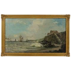 Jules Véron-faré, Late 19th Century Oil on Canvas, Scene of Navy
