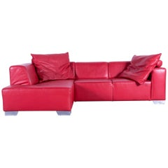 Ewald Schillig Designer Sofa Red Leather Couch Chrome Feet Comfortable