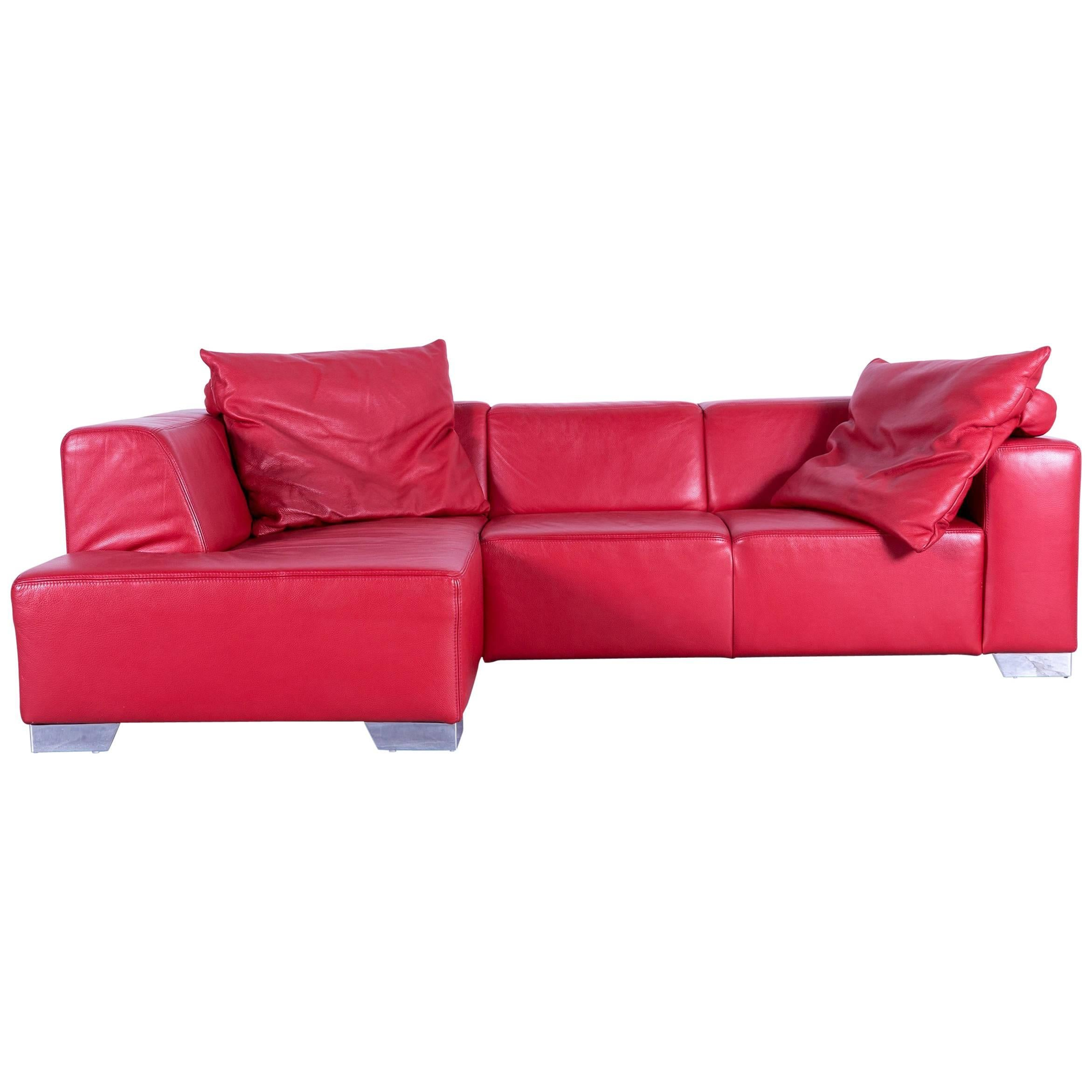 Nice Ewald Schillig Designer Sofa Red Leather Couch Chrome Feet Comfortable Amazing Pictures