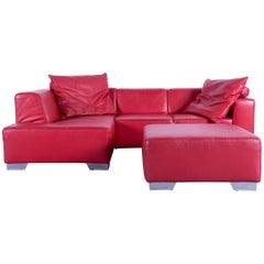 Ewald Schillig Designer Sofa Set Red Leather Couch Incl. Footrest Pouf