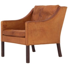 Easy Chair in Natural Leather, BM 2207, Børge Mogensen