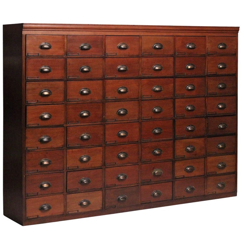 Victorian Apothecary Cabinet with 48 Mahogany Faced Drawers
