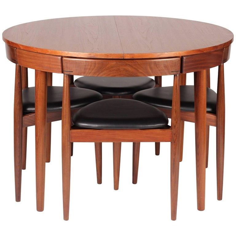 Mid Century Modern Dining Table And Six Chairs Model Roundette By Frem Røjle For