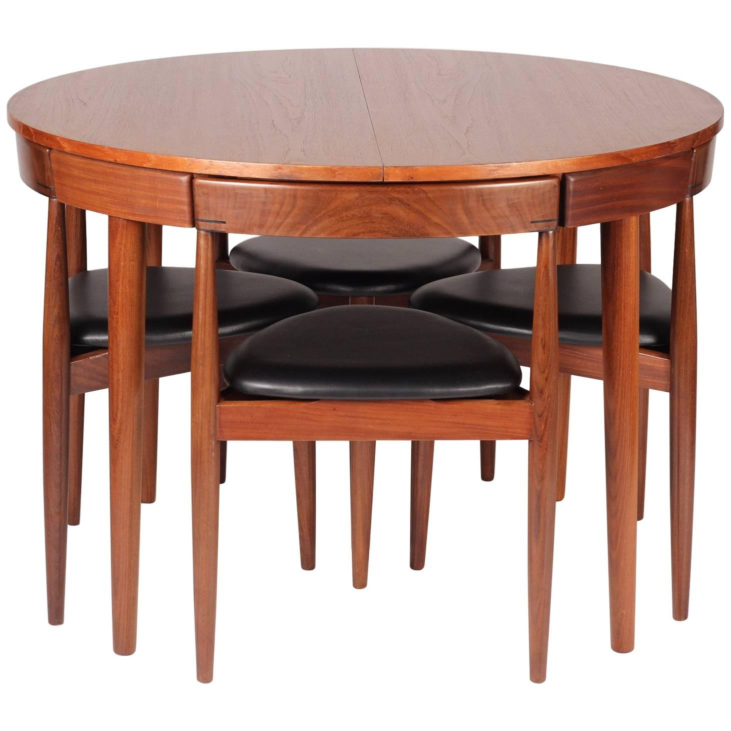 Mid Century Modern Dining Table And Six Chairs Model Roundette By Frem  Røjle For Sale