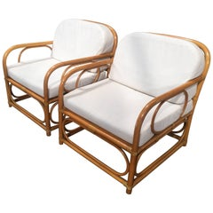 Italian Pair of Bent Bamboo Armchairs with White Cushions from 1960s