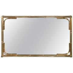 Italian Vintage Faux Bamboo Gilt Metal Framed Mirror from 1970s