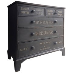 Hand-Painted Chest of Drawers Dresser Antique Victorian, 19th Century