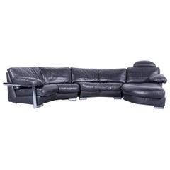 Artanova Medea Designer Black Leather Corner Sofa Back Rest Made in Switzerland