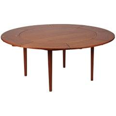 Mid-Century Modern Teak Flip Flap Dining Table by Dyrlund