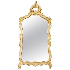 Venetian Mirror in Lacquered, Gilt, Painted Wood and Plaster Floral Decorations