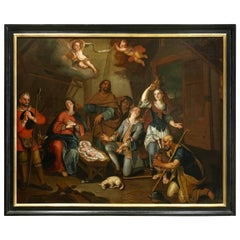 Antique Dutch Painting, Quirinus Van Amelsfoort 1760-1820 Birth of Jesus Christ