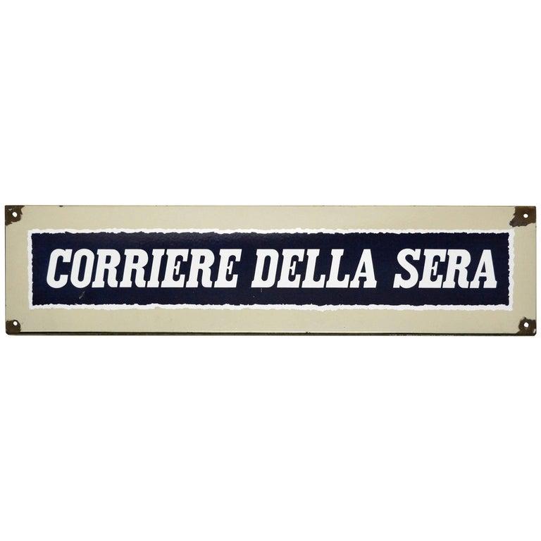 1950s Italian Vintage Enamel Blue and White Corriere Della Sera Sign