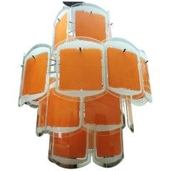 Vistosi Style Space Age Italian Orange and White Glass Chandelier circa 1970
