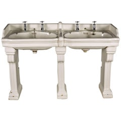 Pair of Interlocking Wash Hand Basins Double Basin on Fluted Ceramic Stands