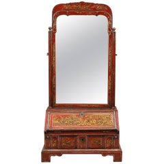 18th Century Red Lacquered Toilet Mirror