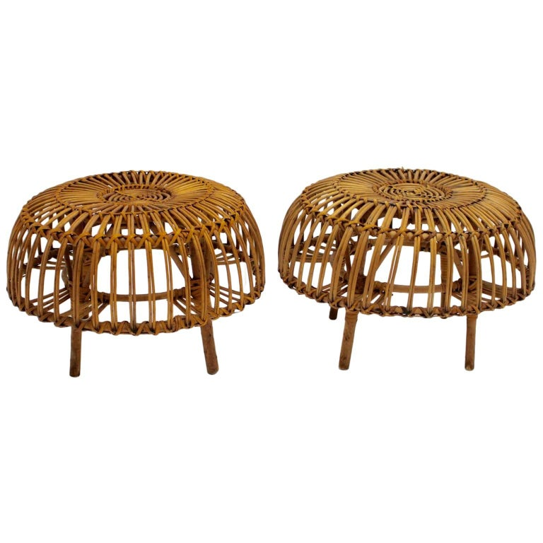 Mid Century Modern Rattan Poufs Franco Albini Style Italy 1950s Set of Two For Sale