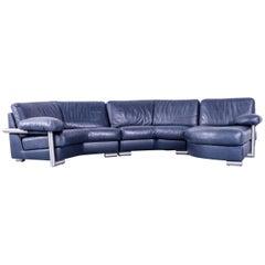 Artanova Medea Designer Blue Leather Corner Sofa Made in Switzerland