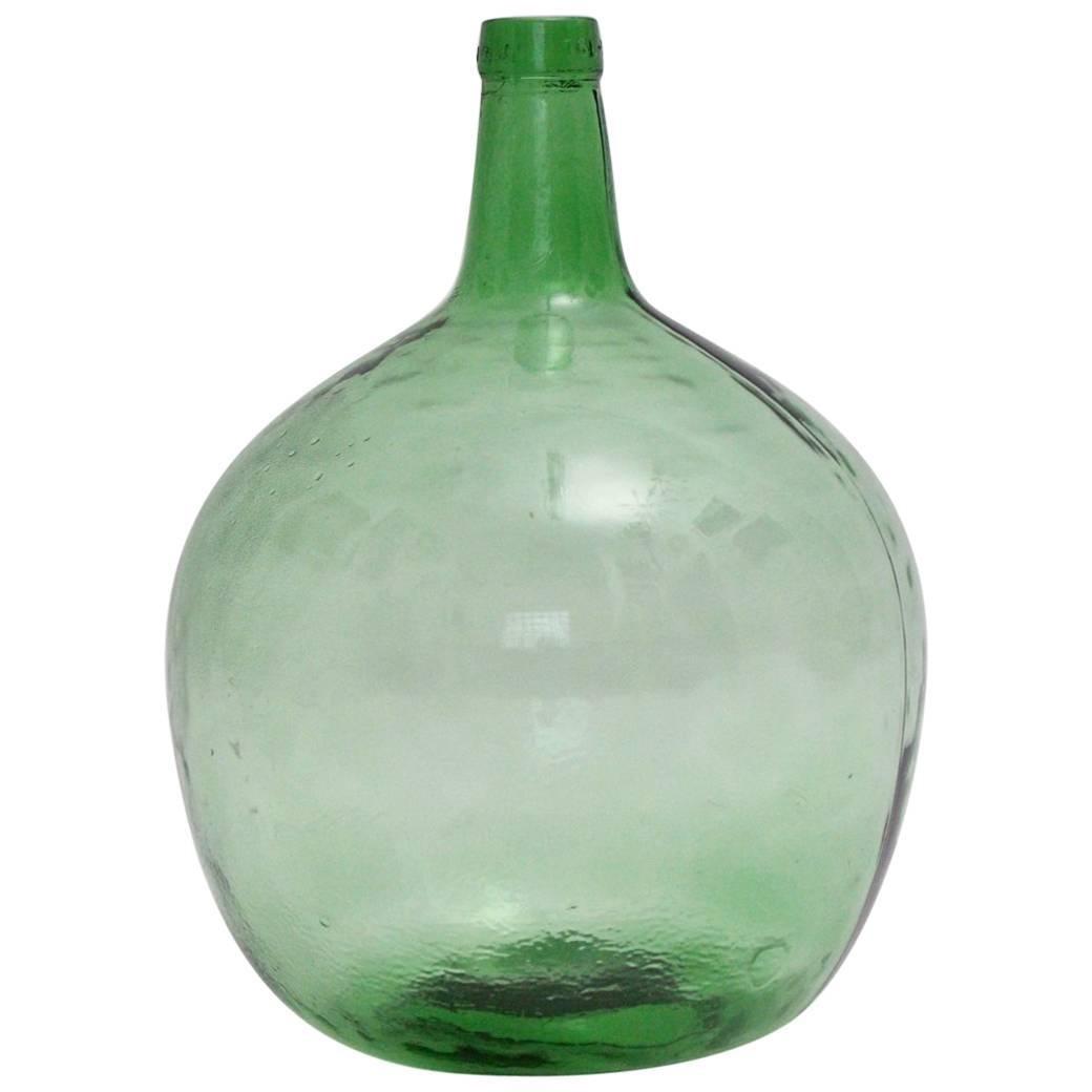 Green Vintage Glass Bottle or Vessel  Demijohn 1970s Viresa