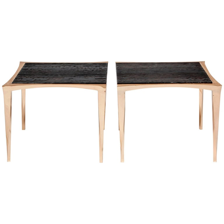 Pair of Bronze and Burnt Pinewood Side Tables by Anasthasia Millot & WH Studio
