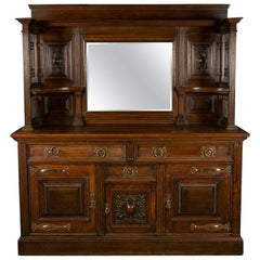 Late 19th Century Arts & Crafts Solid Oak Sideboard with Liberty Styling