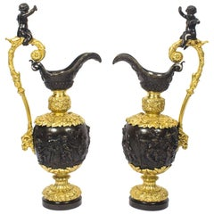 Antique Large Pair of French Gilt Bronze Ewers, 19th Century