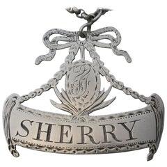 George III Provincial Silver Wine Label Sherry by Robert Scott II