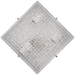 Wall or Ceiling Lamp in Glass and Square Steel, Italy, 1970s