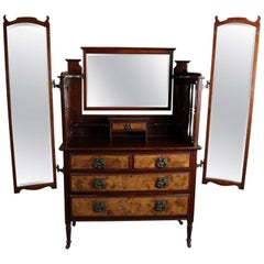 Antique English Edwardian Burled Walnut Dressing Table with Chest, 19th Century