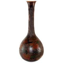 """""""Tree-Bark"""" Cloisonne Jiki-Shippo Cloisonne on Porcelain Bulbous Vase"""