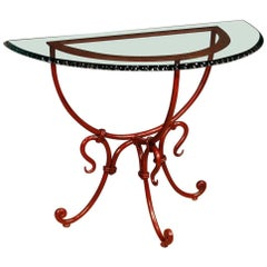 French Demilune Console Table in Red Painted Metal with Glass Top, 20th Century
