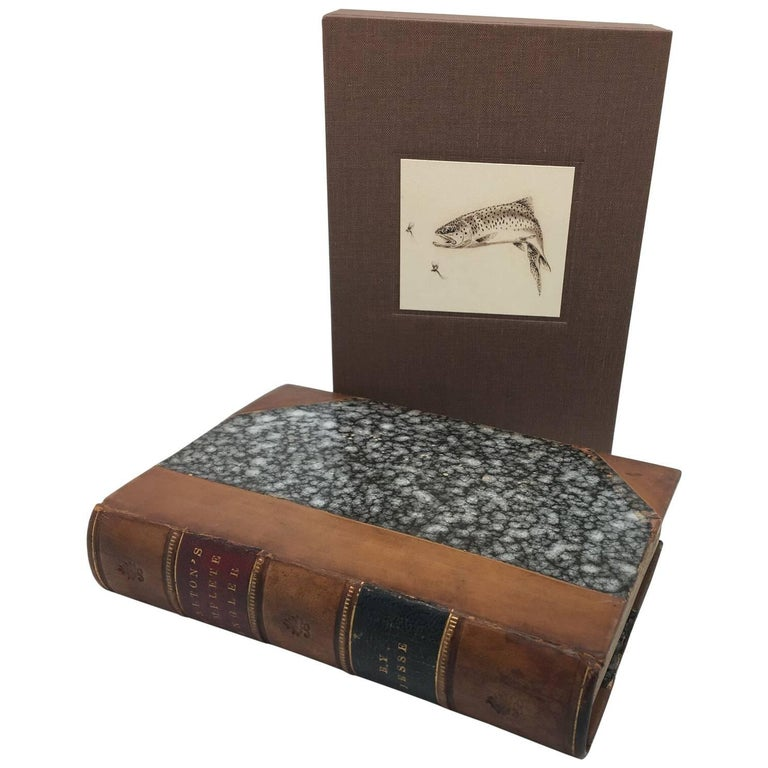 Complete Angler by Isaak Walton, Period Leather Binding, circa 1856 For Sale