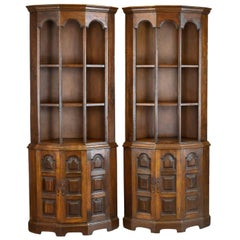 Pair of Tall, Mid-20th Century Corner Cabinets, Gothic Taste, English, Oak