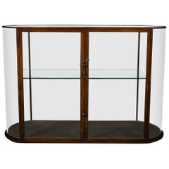 19th Century Mahogany Curve Ended Display Cabinet with Glass Shelf