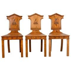 Set of Three Antique Hall Chairs, Oak, Scottish, Stag, Regency, circa 1820