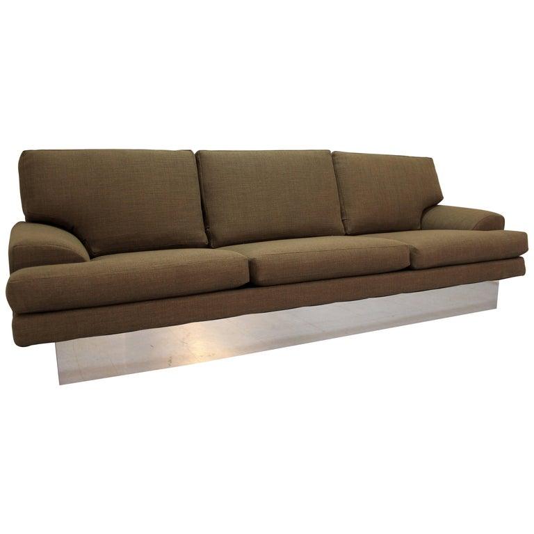 Mid-Century Danish Modern Milo Baughman Thayer Coggin Chrome Base Sofa