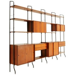 Midcentury Italian Teak Wall Unit Model Aedes by Amma Torino, 1950s