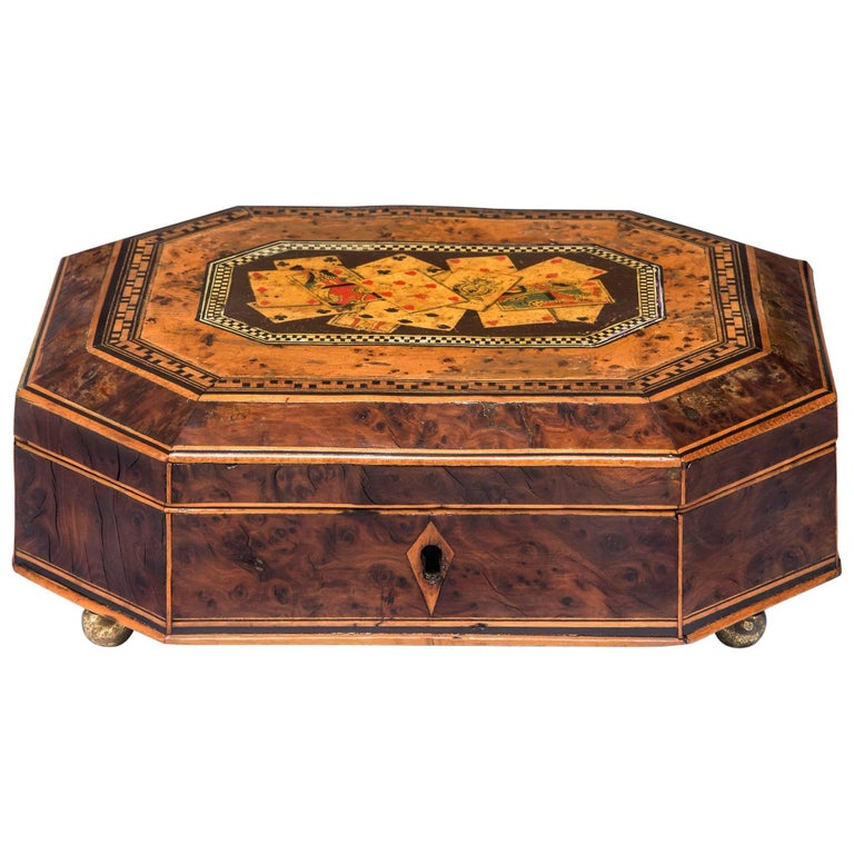 Octagonal Box with Playing Cards For Sale
