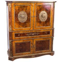 Superb Burr Walnut and Kingwood Cocktail Cabinet, Mid-20th Century