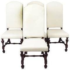 Bespoke Set of Four Carolean Style Upholstered High Back Dining Chairs