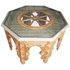 Moroccan Metal Inlaid Coffee Table, Ship's Wheel