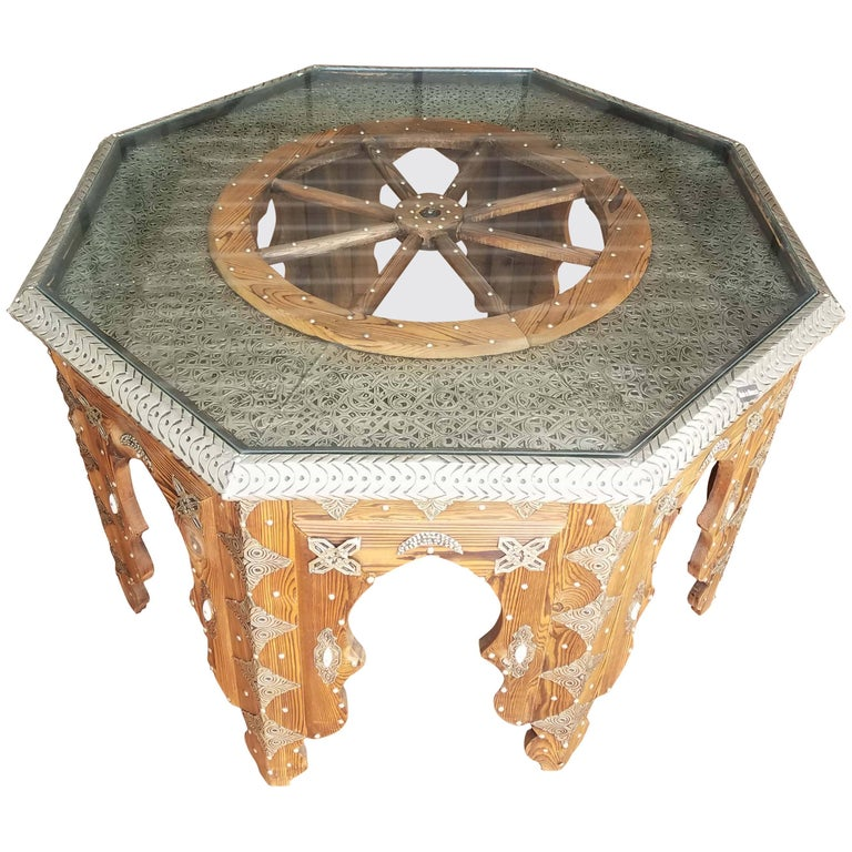 Moroccan Metal Inlaid Coffee Table Ship S Wheel For