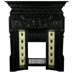 Cast Iron Coalbrookdale Arts & Crafts Fireplace Surround with Immaculate Tiles