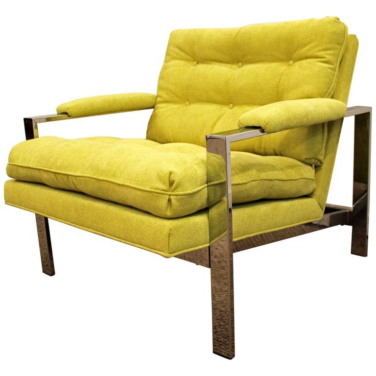 Midcentury Danish Modern Milo Baughman Thayer Coggin Chrome Cube Lounge Chair