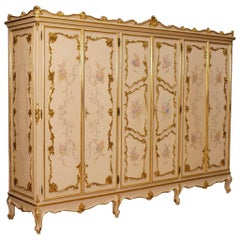 Italian Wardrobe in Lacquered, Gilt and Painted Wood with Six Doors 20th Century
